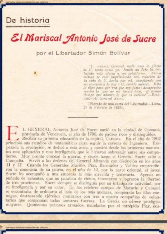 El Mariscal Antonio José de Sucre por el Libertador Simón Bolívar