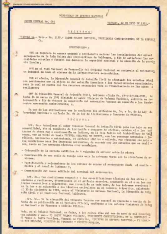Condecoraciones Conflicto Bélico 1981